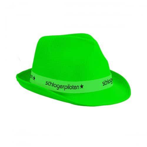 Schlagerpiloten Hut Neongrün