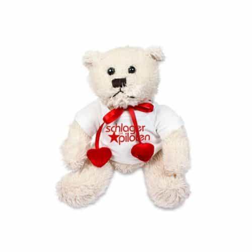 Teddybär mit Herz Schlagerpiloten weiß