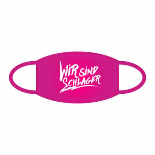 Stoffmaske Wir sind Schlager pink