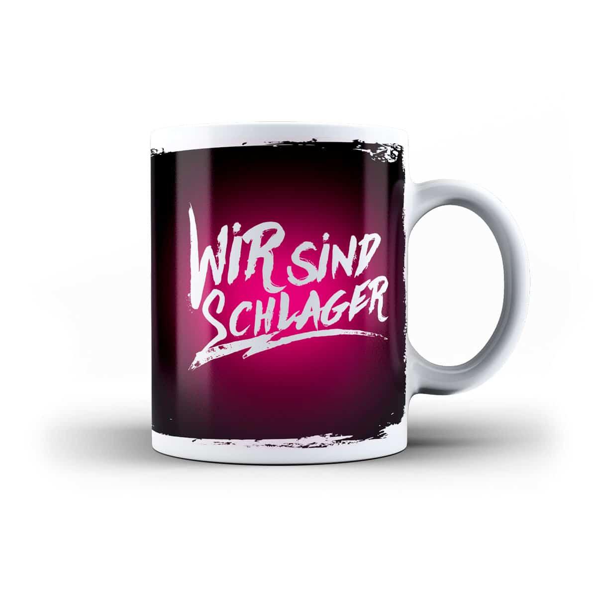 Tasse wir sind schlager schwarz pink