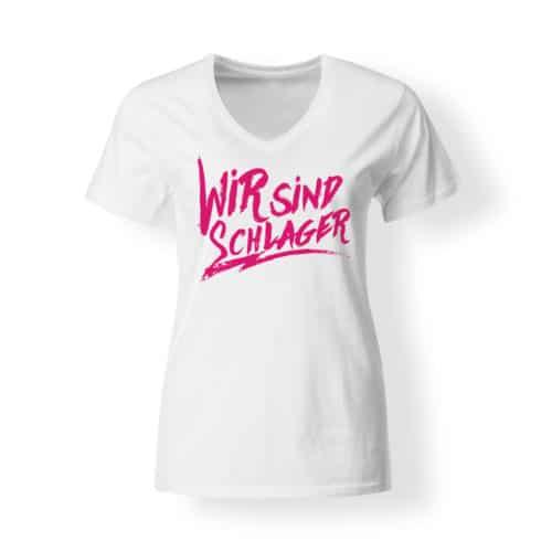 T-Shirt V-Neck Damen Wir sind schlager weiss