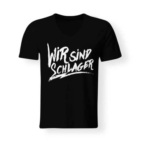T-Shirt V-Neck Wir sind schlager schwarz