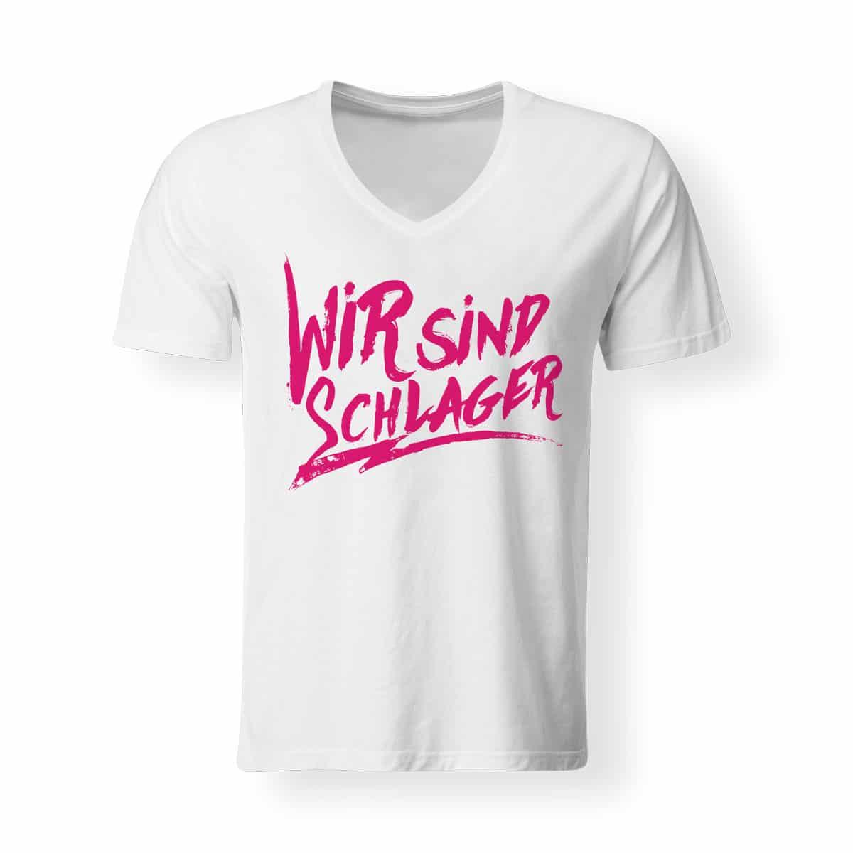 T-Shirt V-Neck Wir sind schlager weiss