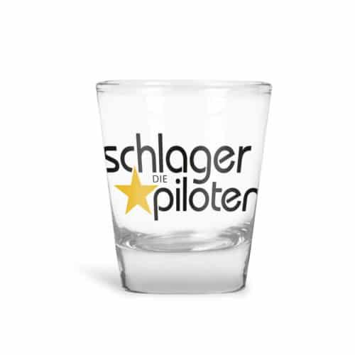 Schnapsglas Schlagerpiloten Logo schwarz