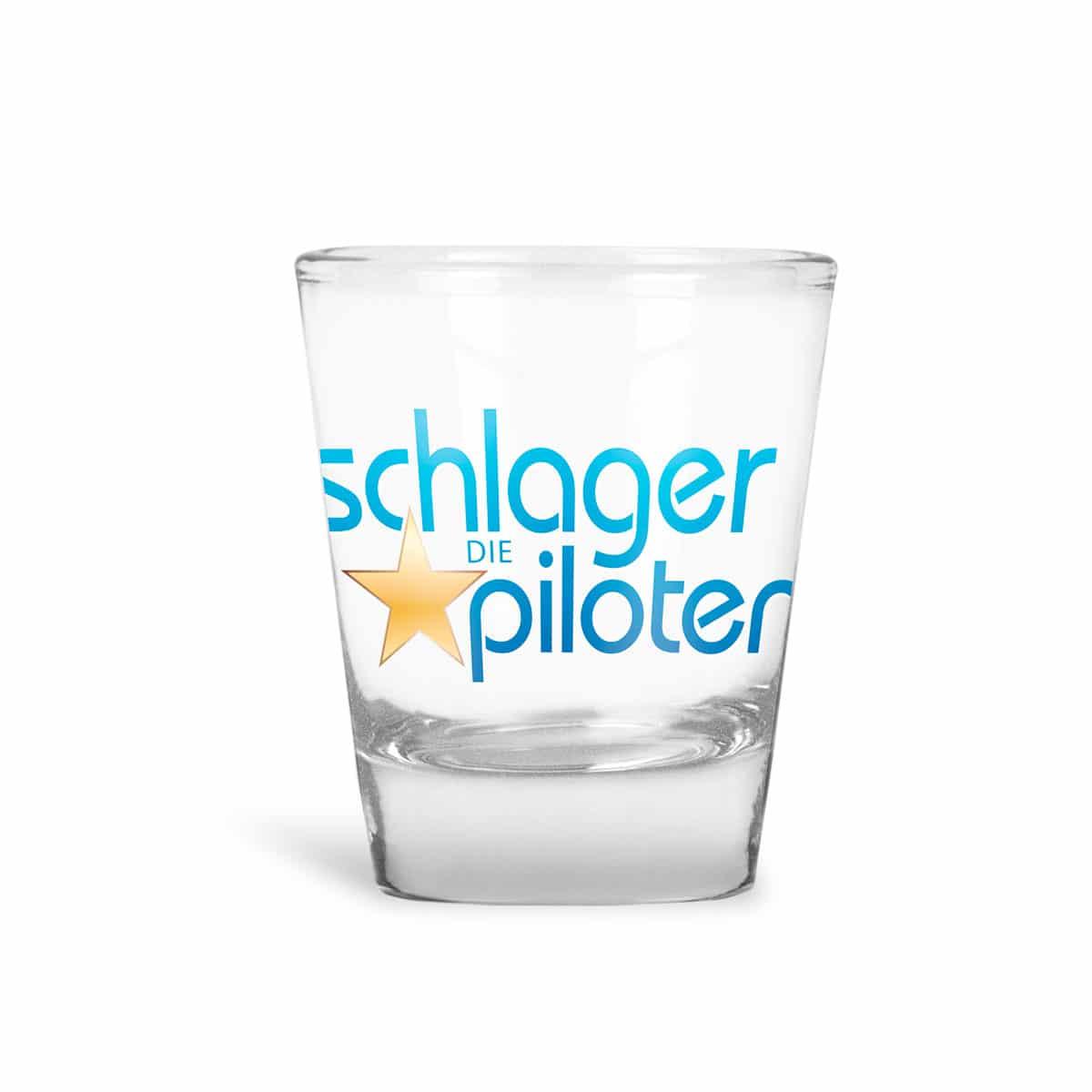 Schnapsglas Schlagerpiloten logo blau