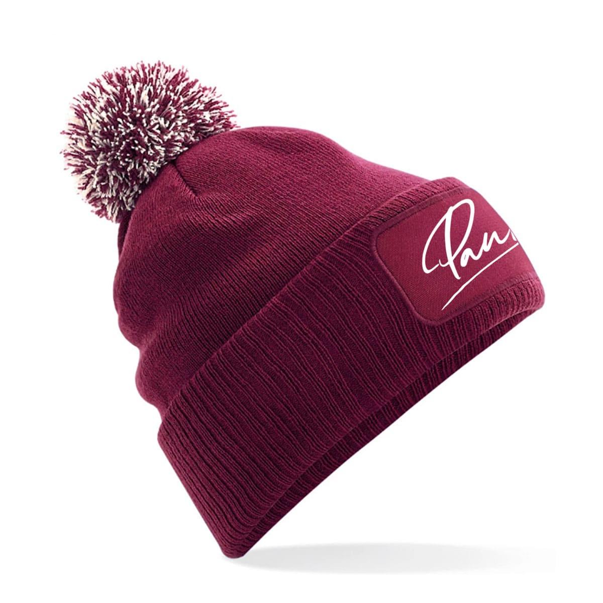 Mütze Pauline burgund mit Bommel