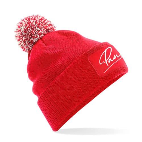 Mütze Pauline rot mit Bommel