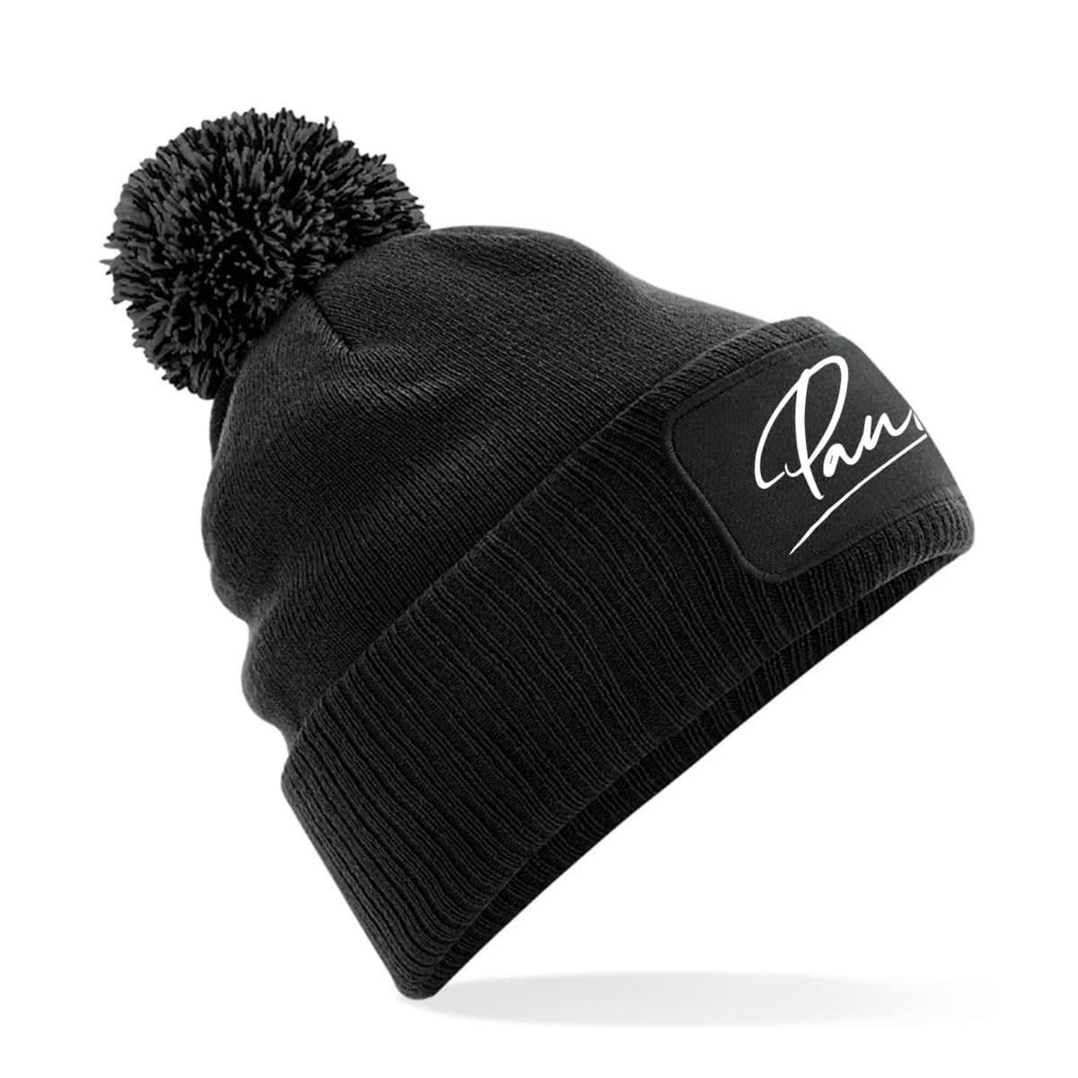 Mütze Pauline schwarz mit Bommel