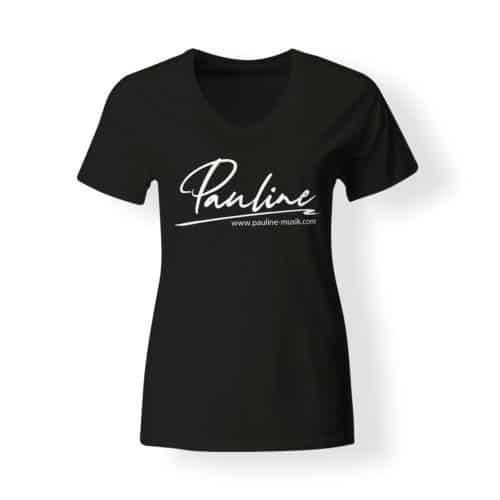 T-Shirt V-Neck Damen Pauline schwarz