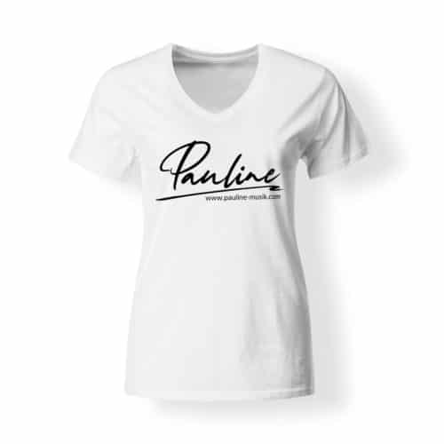 T-Shirt V-Neck Damen Pauline weiss