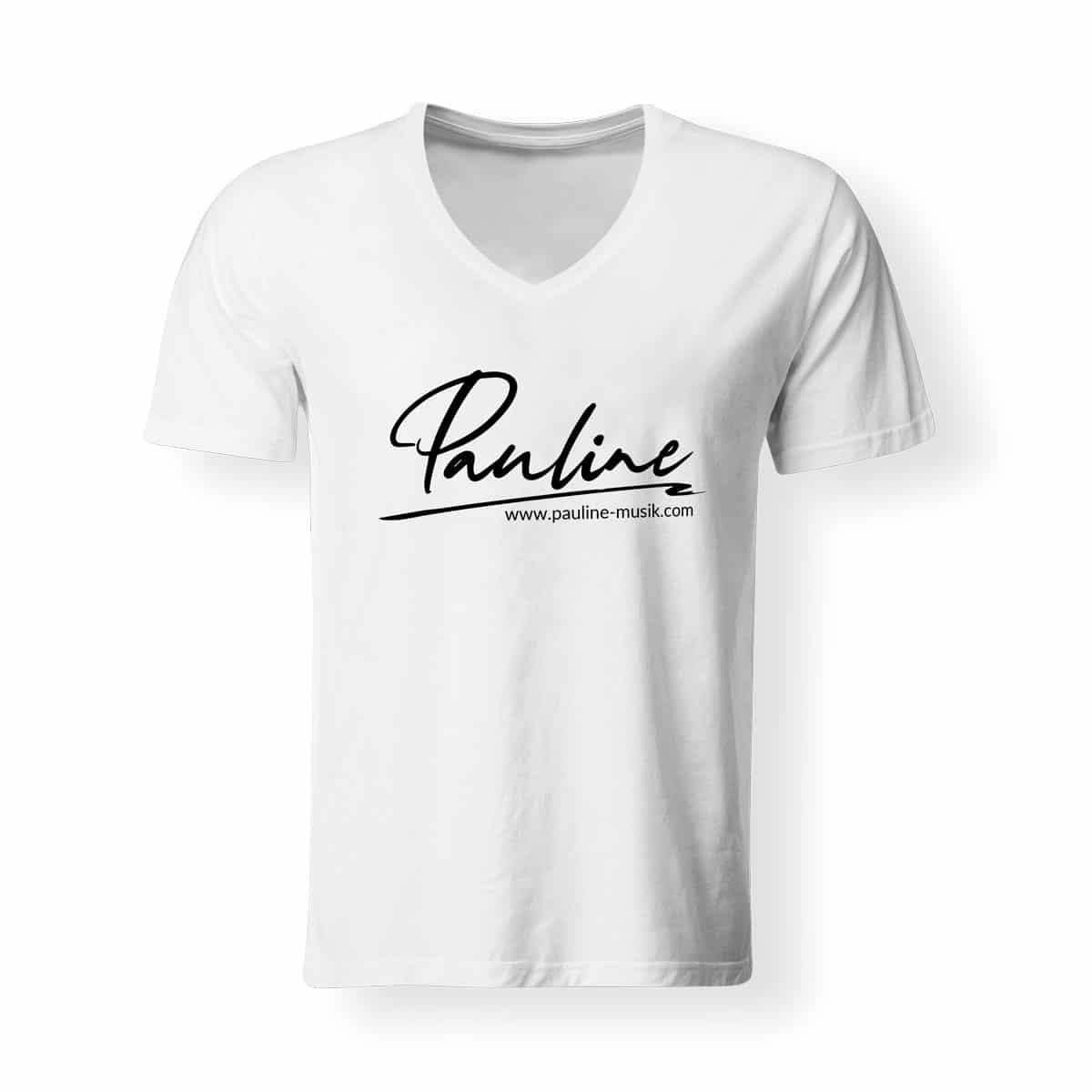 T-Shirt V-Neck Herren Pauline weiss