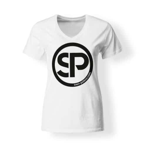T-Shirt Damen V-Neck Sven Polenz weiß