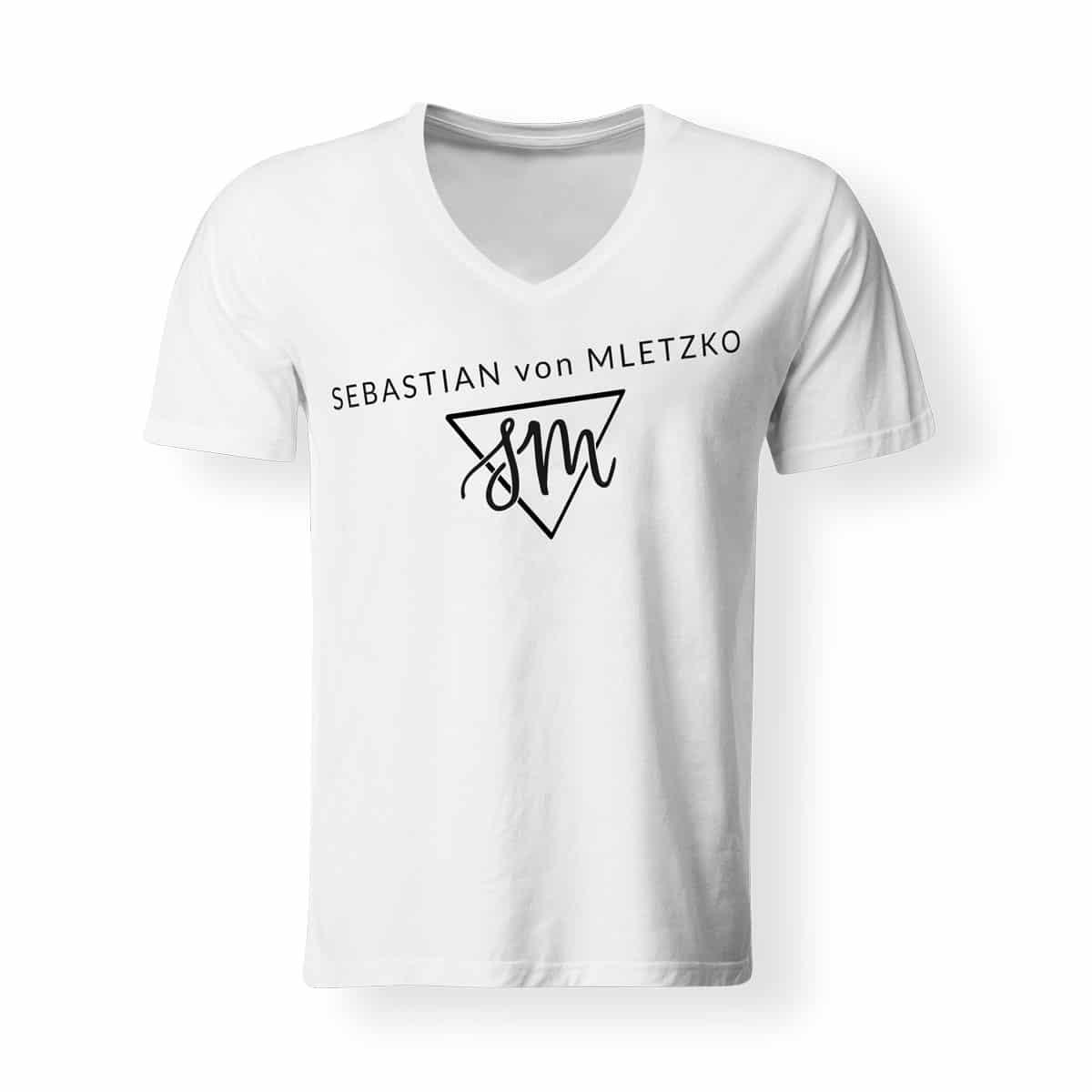 Sebastian von Mletzko T-Shirt Herren V Neck weiss