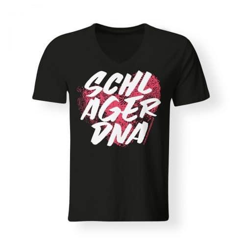 T-Shirt V-Neck Schlager DNA schwarz