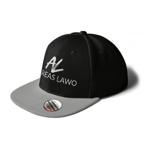 Andreas Lawo Cap Snapback grau schwarz Logo