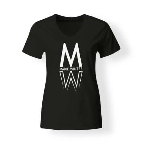 Marie Winter Damen T-Shirt V-Neck schwarz