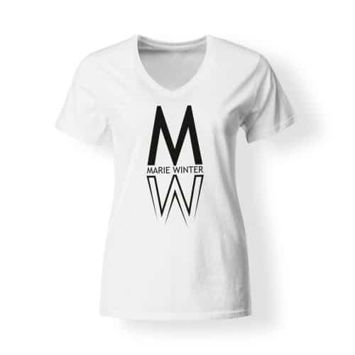 Marie Winter Damen T-Shirt V-Neck weiß
