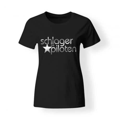 Schlagerpiloten T-Shirt Damen schwarz-silber