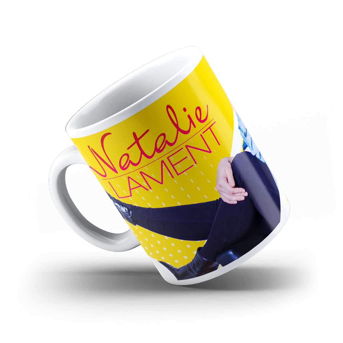 Tasse Natalie Lament Foto Motiv gelb