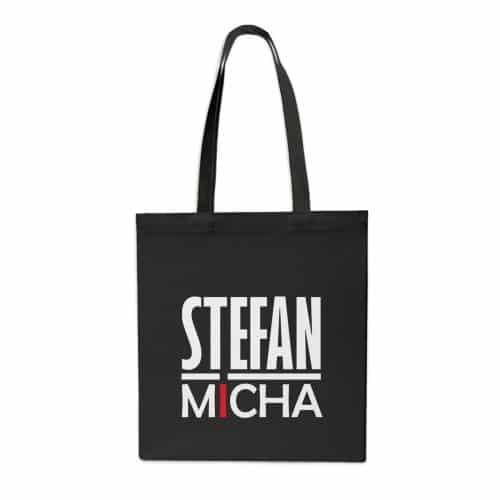 Einkaufstasche Stefan Micha Logo schwarz