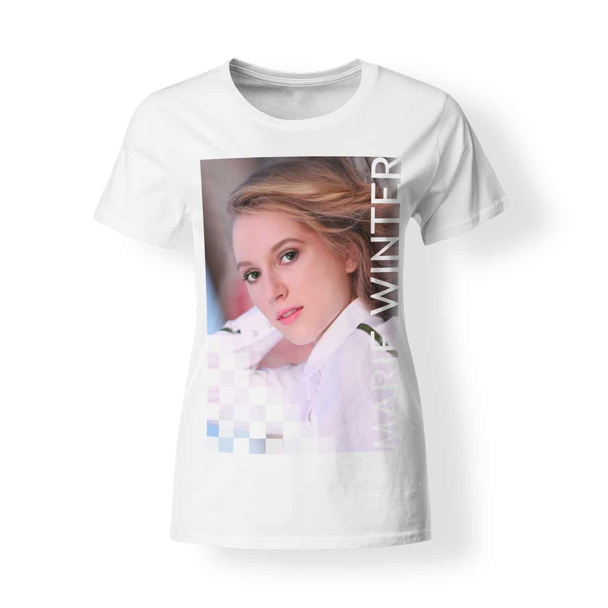 T-Shirt Marie Winter Foto Volles Risiko Damen weiß
