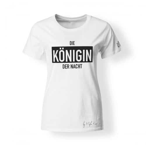 Misha Kovar T-Shirt Damen Königin der Nacht Logo weiß