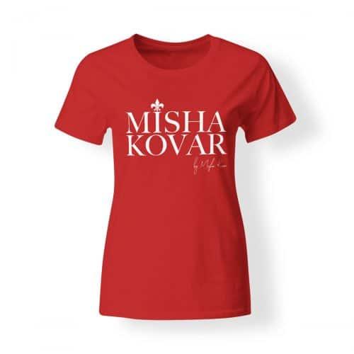 Misha Kovar T-Shirt Damen Logo rot