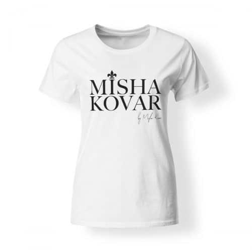 Misha Kovar T-Shirt Damen Logo weiß