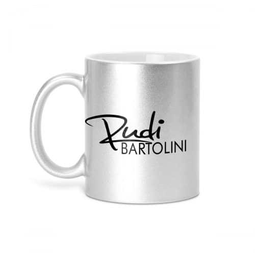 Tasse glitzer silber logo Rudi Bartolini
